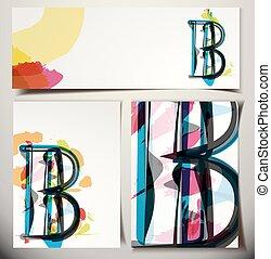 scheda, b, artistico, lettera, augurio