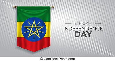 scheda, bandiera, illustrazione, giorno indipendenza, augurio, etiopia, vettore