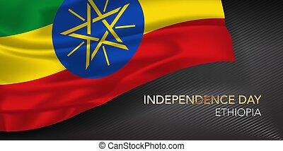 scheda, bandiera, illustrazione, giorno indipendenza, augurio, testo, etiopia, sagoma, vettore