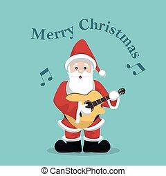 scheda, chitarra, acustico, gioco, natale, claus, santa