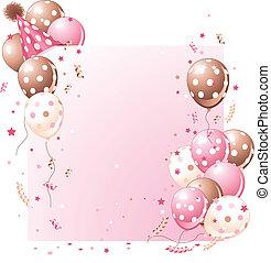 scheda compleanno, rosa
