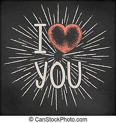 scheda, cuore, schizzo, amore, scoppio, vendemmia, valentines, -, giorno, illustrazione, creativo, fondo., vettore, nero, lavagna, luce, disegnato, mano, raggi, disegno, you.