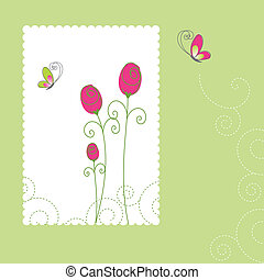 scheda, estate, floreale, augurio, primavera