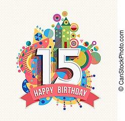 scheda, felice, anno, compleanno, colorare, 15, manifesto, augurio