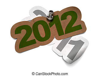 scheda, fisso, su di, metallo, adesivo, -, grigio, augurio, carta, fondo, verde, numeri, 2012, kraft, 2011, sopra, thumbtack, 3d