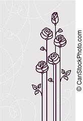 scheda, fondo, rose, matrimonio, vettore, fiore
