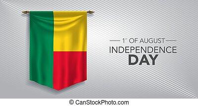scheda, giorno, vettore, bandiera, illustrazione, augurio, indipendenza, benin