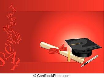 scheda, grado, università, augurio, rosso, università