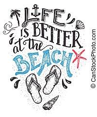 scheda, hand-lettering, meglio, vita, spiaggia