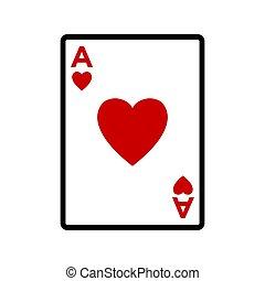 scheda, icona, vettore, disegno, sagoma, poker