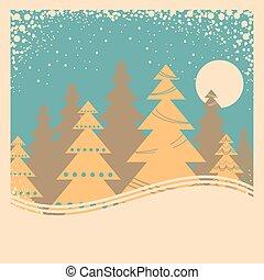 scheda, inverno, illustrazione, vecchio, neve, manifesto, cornice, vendemmia