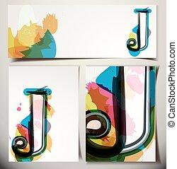 scheda, j, artistico, lettera, augurio