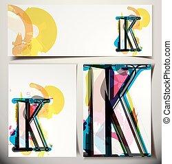 scheda, k, artistico, lettera, augurio