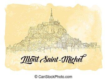 scheda, linea, saint-michel., silhouette., vettore, viaggiare, arte, sketching., città, mont, illustration., acquarello, francia, turismo, fondo., concept.