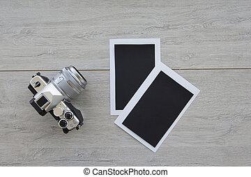 scheda, mocap, idee, macchina fotografica, legno, foto, blocco note, affari, avvio, fondo, , concetto