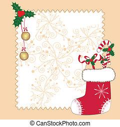scheda natale, augurio, ornamenti