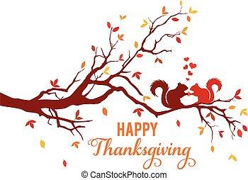 scheda, ringraziamento, foglie, cadere, vettore, scoiattoli albero, autunno