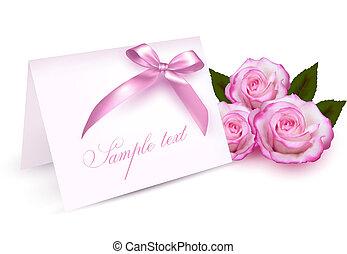 scheda, rose, augurio, bellezza
