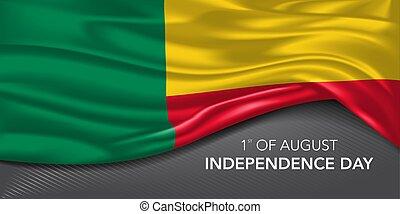 scheda, sagoma, testo, giorno, vettore, illustrazione, augurio, indipendenza, bandiera, benin