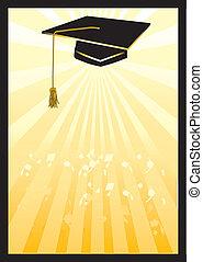 scheda, spotlight., graduazione, giallo, mortaio
