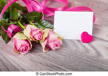 scheda valentine, rose, legno