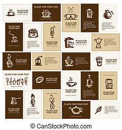 schede affari, disegno, caffè, ditta