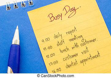schedule., mano, appuntamento, affari, scrittura