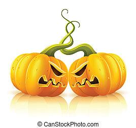 schermaglia, aggressivo, zucche, halloween, due