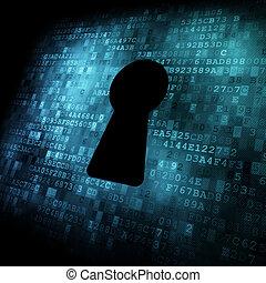 schermo, buco serratura, sicurezza, concept:, digitale