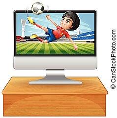 schermo calcolatore, football, desktop