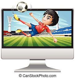 schermo, computer desktop, football