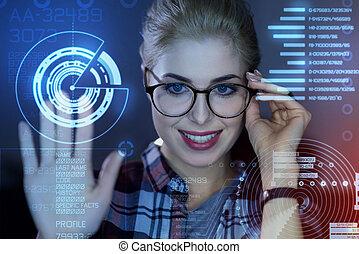 schermo, sistema, trasparente, mentre, toccante, professionale, programmatore, sbloccando