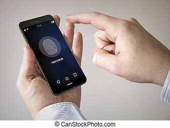 schermo, smartphone, touchscreen, impronta digitale