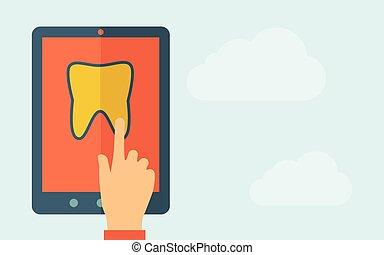 schermo tocco, icona, tavoletta, dente