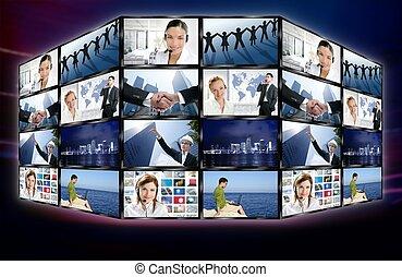 schermo tv, parete, video, digitale, notizie, futuristico