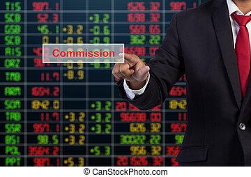 schermo, virtuale, segno, commissione, toccante, uomo affari, mano