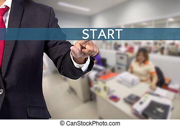 schermo, virtuale, segno, inizio, toccante, uomo affari, mano