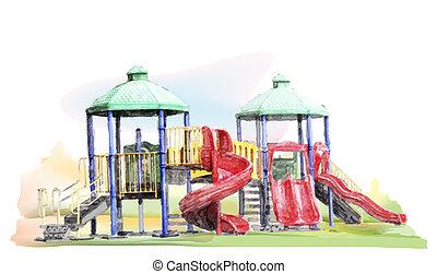 schizzo, acquarello, campo di gioco, bambini