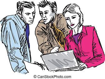 schizzo, affari, persone lavorare, riuscito, ufficio., laptop, illustrazione, vettore