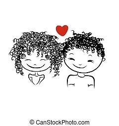 schizzo, amore, coppia, valentina, disegno, insieme, tuo