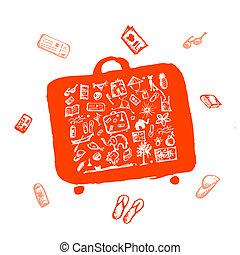 schizzo, arancia, tuo, estate, valigia, vacanze, disegno