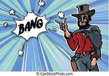 schizzo, arte, clip, vendemmia, cowboy., uomini, illustrazione, vettore, retro, bang.