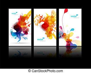 schizzo, astratto, set, colorito, illustrations.