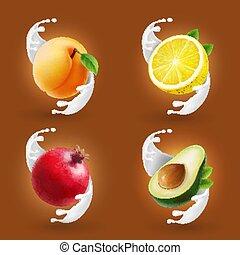 schizzo, avocado, limone, set., pompelmo, collezione, albicocca, realistico, vettore, frutte, latte, icona