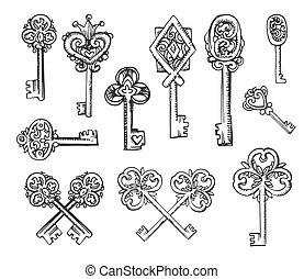 schizzo, chiavi, vendemmia, illustrazione, mano, vettore, fondo, disegnato, bianco