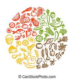 schizzo, cibo sano, fondo, disegno, tuo