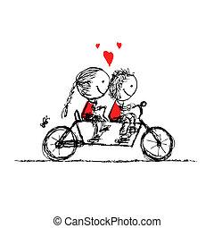schizzo, ciclismo, coppia, valentina, disegno, insieme, tuo