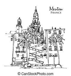 schizzo, città, illustrazione, menton, disegno, francia, sud-est
