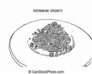 schizzo, colorare, mano, acqua, vector., peperoncino, disegnato, spaghetti