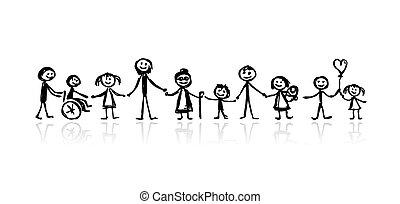 schizzo, disegno, tuo, famiglia, insieme